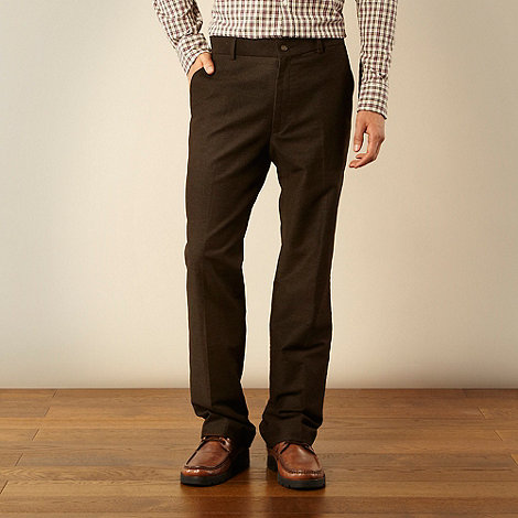 Maine New England - Big and tall chocolate brushed twill trousers