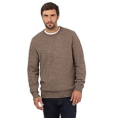 Maine New England - Big and tall light brown v neck jumper