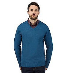 Maine New England - Blue knitted V neck jumper