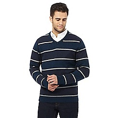 Maine New England - Big and tall multi-coloured striped print v neck jumper