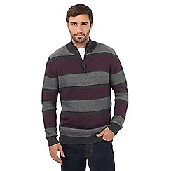 Maine New England - Dark green striped zip neck jumper