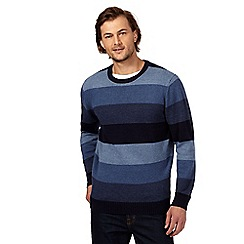 Maine New England - Big and tall blue striped crew neck jumper