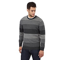 Maine New England - Grey striped crew neck jumper