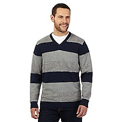 Maine New England - Grey and navy twist striped V neck jumper