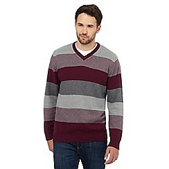 Maine New England - Big and tall plum striped v neck jumper