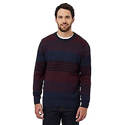 Maine New England - Maroon striped crew neck jumper