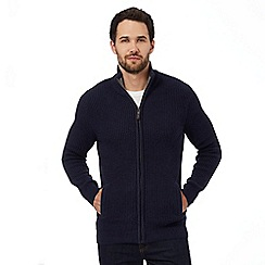 Maine New England - Navy ribbed zip-through cardigan