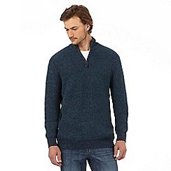 Maine New England - Big and tall dark turquoise zip neck jumper