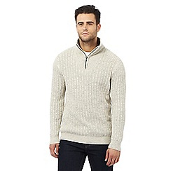 Maine New England - Big and tall off white zip funnel neck sweater