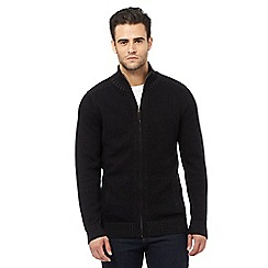 Maine New England - Black ribbed zip through sweater