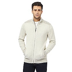 Maine New England - Big and tall cream ribbed zip through sweater