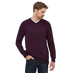 Maine New England - Big and tall purple birdseye v-neck jumper