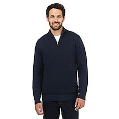 Maine New England - Navy zip neck jumper