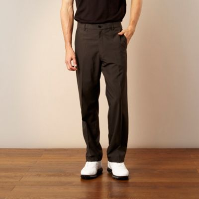 Grey chalk striped teflon trousers