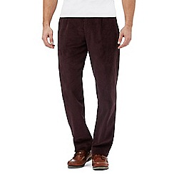 Maine New England - Big and tall dark red pleat front corduroy trousers