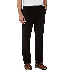 Maine New England - Big and tall black pleat front corduroy trousers