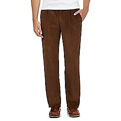 Maine New England - Dark tan pleat front corduroy trousers