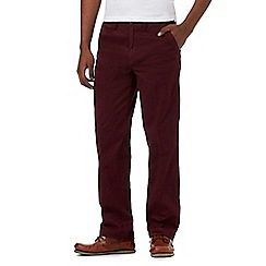 Maine New England - Dark red flexible waistband tailored fit chinos