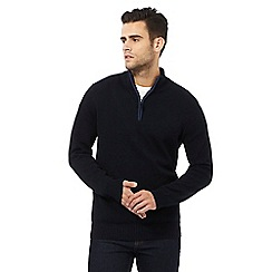 Maine New England - Navy tipped zip neck sweater
