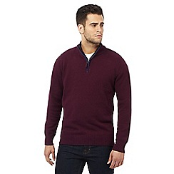 Maine New England - Big and tall dark purple tipped funnel neck jumper