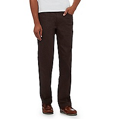 Maine New England - Brown textured regular fit trousers
