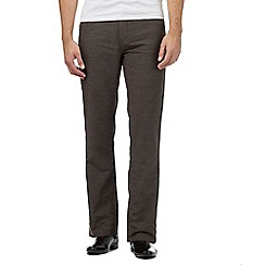 Maine New England - Brown brushed twill cotton blend trousers
