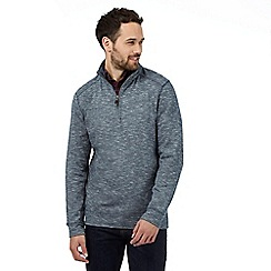 Maine New England - Big and tall navy marled cotton zip neck top