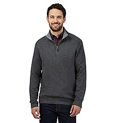 Maine New England - Big and tall grey marled cotton zip neck top