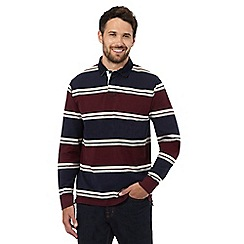 Maine New England - Big and tall maroon striped rugby shirt