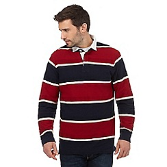 Maine New England - Big and tall red and navy textured stripe rugby shirt