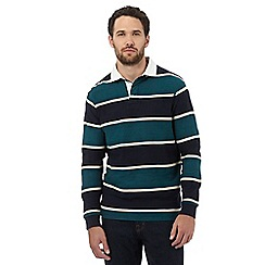 Maine New England - Big and tall dark turquoise chevron striped rugby shirt
