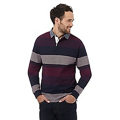 Maine New England - Big and tall dark purple striped long sleeved polo shirt