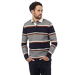 Maine New England - Big and tall dark orange highlight striped rugby shirt