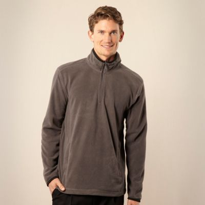 Big and tall dark grey golf zip neck fleece