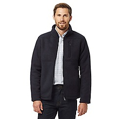 Maine New England - Navy 'Ashville' zip-through fleece cardigan