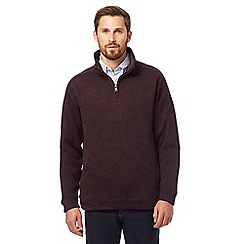 Maine New England - Big and tall dark red funnel neck sweater