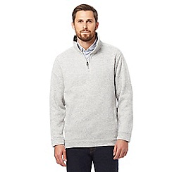 Maine New England - Big and tall light grey funnel neck sweater
