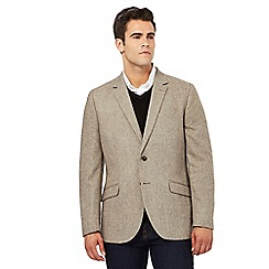 Maine New England - Beige herringbone wool blend jacket