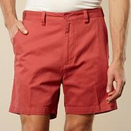 Big and tall flexi waist  red casual twill shorts