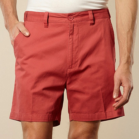 Maine New England - Big and tall flexi waist  red casual twill shorts
