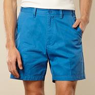 Big and tall flexi waist bright blue casual twill shorts