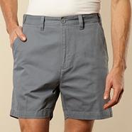 Big and tall flexi waist grey casual twill shorts