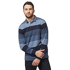 Maine New England - Big and tall blue long sleeve stripe polo shirt