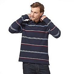Maine New England - Big and tall navy textured striped long sleeved polo shirt