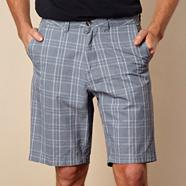 Big and tall blue checked chino shorts