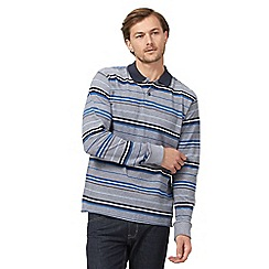 Maine New England - Big and tall blue textured striped long sleeved polo shirt