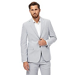 Maine New England - Big and tall white seersucker stripe blazer