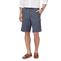 Maine New England - Big and tall navy grid checked shorts