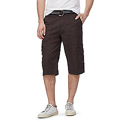 Maine New England - Big and tall brown belted cargo shorts