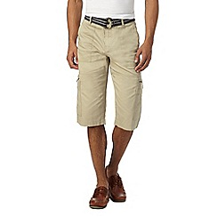 Maine New England - Big and tall natural belted cargo shorts